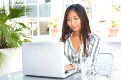 Young asian woman using laptop Royalty Free Stock Photography
