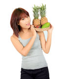 Young asian woman with variety of oriental fruits. Stock Photo