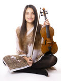 Young asian woman with violin Royalty Free Stock Images