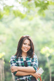 Young asian woman walking on the park Royalty Free Stock Photography