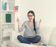 Young asian woman watching movie Stock Photo