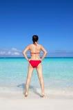 Young asian woman wearing red bikini Royalty Free Stock Photos