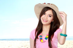 Young asian woman wearing summer hat Royalty Free Stock Photos