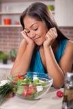 Young asian woman women making fresh salad Royalty Free Stock Image