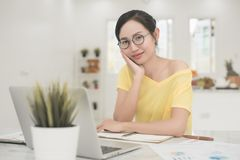 Young Asian Woman Working at home, Young business start up onlin. E seller owner, Delivery Project, Woman with Online Business or SME Concept stock images