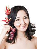 Young asian women with face mask and fruits Stock Photography