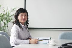 Young asian women in meeting room. Young asian women at meeting Stock Photo