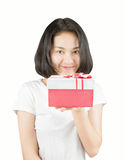 Young Asian women with no makeup holding gift box with smiley fa Royalty Free Stock Photo