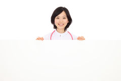 Young Asian women in white coats and white board Stock Image