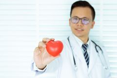 Young Asians Doctor hand holding red heart. Health concept and heart disease symbol. selective focus. man and heart.on white royalty free stock image