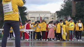 Young Asians in various costumes posing for group photo near UN Office at Geneva. Stock footage stock footage