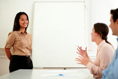 Young asiatic bussineswoman during a meeting Stock Photography