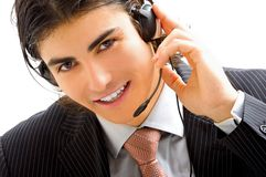 Young assistant with headset Stock Photo