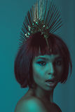 Young astonished african american woman in stylish headpiece Stock Photography