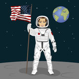 Young astronaut standing on the moon holding usa flag on the backround of earth. Young brave astronaut standing on the moon holding usa flag on the backround of Royalty Free Stock Photo