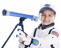 Young Astronaut with Telescope Royalty Free Stock Photos
