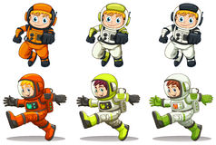 Young astronauts. Illustration of the young astronauts on a white background Royalty Free Stock Photo