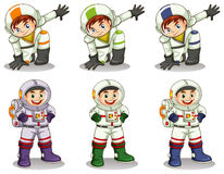 Young astronauts. Lllustration of the young astronauts on a white background Stock Photography