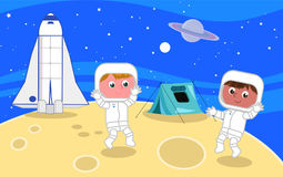 Young astronauts on the moon  Stock Photography