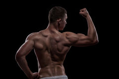Young athlete bodybuilder from back Royalty Free Stock Images