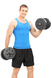 Young athlete exercising with barbells Stock Image