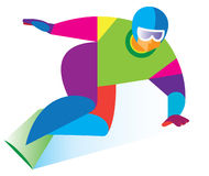 Young athlete goes down on a snowboard Royalty Free Stock Image