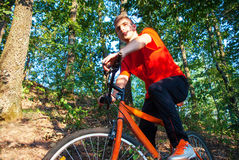 Young athlete man cycling outdoor Stock Photo
