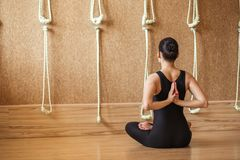 Young athlete performing asana exercise. relax and calmness concept royalty free stock images
