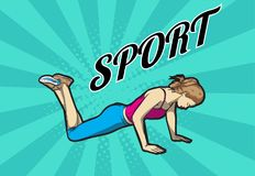 A young athlete performs exercises. Pop art retro  illustration. Sport and a healthy lifestyle Royalty Free Stock Photo