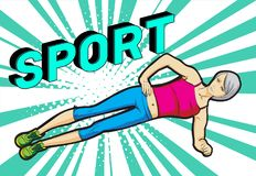A young athlete performs exercises on the press. Pop art retro  illustration. Sport and a healthy lifestyle Stock Image