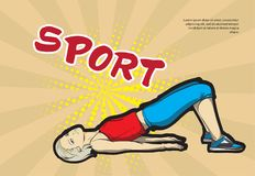 A young athlete performs exercises. Sport background Royalty Free Stock Photo