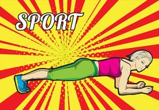 A young athlete performs exercises. Sport background Stock Images