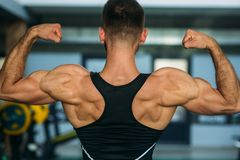 Young athlete posing with a torso for photography on a brick wall background. Bodybuilder, athlete with pumped muscles. Stock Photos