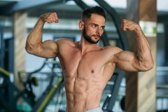 Young athlete posing with a torso for photography on a brick wall background. Bodybuilder, athlete with pumped muscles. Royalty Free Stock Image