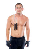 Young athlete with a rope and bare-chested Stock Photos