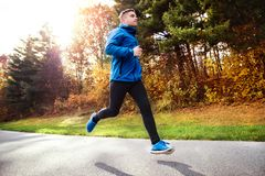 Young athlete running in park in colorful autumn nature. Royalty Free Stock Photography