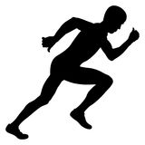 Young athlete sprinter start. Race black silhouette royalty free illustration