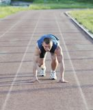 Young athlete on start Stock Photo