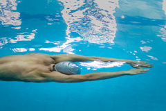 Young athlete in swimming start swimming under water Royalty Free Stock Images
