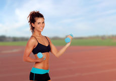 Young athlete training. At the track royalty free stock image