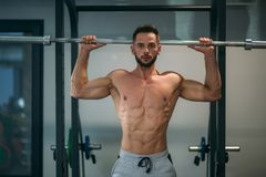 A young athlete trains in the gym. Shows the muscles of the back and chest Stock Photography