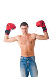 Young athlete wearing boxe gloves Royalty Free Stock Photo