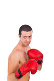 Young athlete wearing boxe gloves Stock Photos