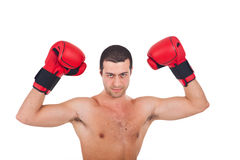 Young athlete wearing boxe gloves Stock Images
