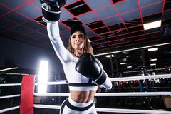 Young athlete woman in boxing gloves standing on ring Stock Photography