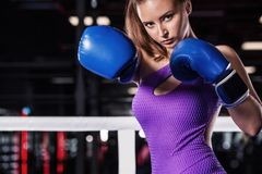 Young athlete woman in boxing gloves standing on ring Royalty Free Stock Image