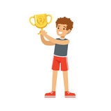Young athletes boy holding winner cup, kid celebrating his second place cartoon vector Illustration. On a white background Stock Photography