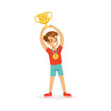 Young athletes boy holding winner cup, kid celebrating his victory cartoon vector Illustration. On a white background Stock Photos