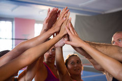 Young athletes giving high-fives Royalty Free Stock Images
