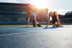 Young athletes preparing to race Royalty Free Stock Image